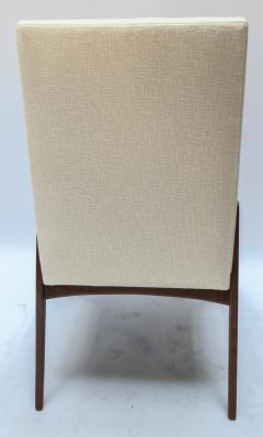 Adesso Studio Set of Ten Custom Mid Century Style Walnut Dining Chairs in Ivory Linen - 1140929