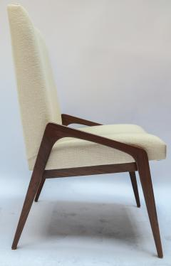 Adesso Studio Set of Ten Custom Mid Century Style Walnut Dining Chairs in Ivory Linen - 1140930