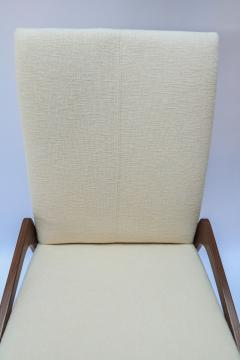 Adesso Studio Set of Ten Custom Mid Century Style Walnut Dining Chairs in Ivory Linen - 1140938