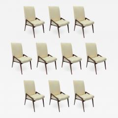 Adesso Studio Set of Ten Custom Mid Century Style Walnut Dining Chairs in Ivory Linen - 1151748