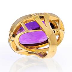 Adler 18K YELLOW GOLD LARGE OVAL AMETHYST AND ROCK CRYSTAL ESTATE DIAMOND RING - 2152979