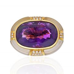 Adler 18K YELLOW GOLD LARGE OVAL AMETHYST AND ROCK CRYSTAL ESTATE DIAMOND RING - 2152981
