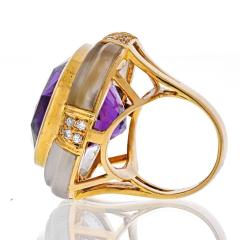 Adler 18K YELLOW GOLD LARGE OVAL AMETHYST AND ROCK CRYSTAL ESTATE DIAMOND RING - 2152982