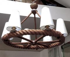 Adrien Audoux Frida Minet Audoux Minet French Riviera 6 Light Rope Chandelier in Good Vintage Condition - 606372