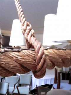 Adrien Audoux Frida Minet Audoux Minet French Riviera 6 Light Rope Chandelier in Good Vintage Condition - 606386