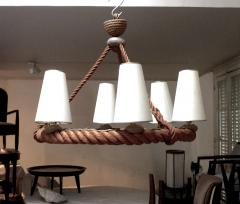 Adrien Audoux Frida Minet Audoux Minet French Riviera 6 Light Rope Chandelier in Good Vintage Condition - 606405