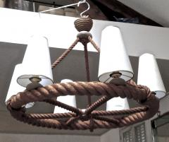 Adrien Audoux Frida Minet Audoux Minet French Riviera 6 Light Rope Chandelier in Good Vintage Condition - 606413