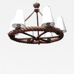 Adrien Audoux Frida Minet Audoux Minet French Riviera 6 Light Rope Chandelier in Good Vintage Condition - 607423