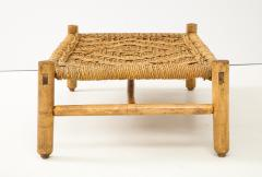 Adrien Audoux Frida Minet Audoux Minet Woven Rope and Wood Coffee Table or Bench - 1152175