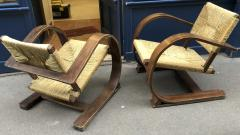 Adrien Audoux Frida Minet Audoux Minet pair of bent wood lounge chair with a rare rush cover - 911732