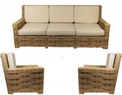 Adrien Audoux Frida Minet Audoux Minet rarest 3 pieces set of comfy weaving hay rope - 998213