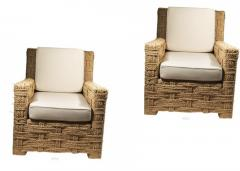 Adrien Audoux Frida Minet Audoux minet pair of woven rope lounge comfy chairs - 998201