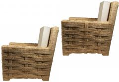 Adrien Audoux Frida Minet Audoux minet pair of woven rope lounge comfy chairs - 998205