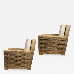 Adrien Audoux Frida Minet Audoux minet pair of woven rope lounge comfy chairs - 998526