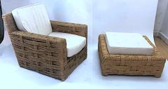 Adrien Audoux Frida Minet Audoux minet rarest lounge chair and its ottoman - 1125056
