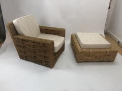 Adrien Audoux Frida Minet Audoux minet rarest lounge chair and its ottoman - 1125064