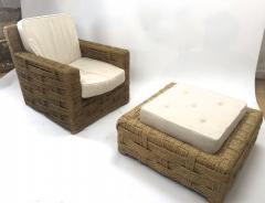 Adrien Audoux Frida Minet Audoux minet rarest lounge chair and its ottoman - 1125065
