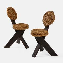 Adrien Audoux Frida Minet Pair of Rope and Wood Chairs - 1995803
