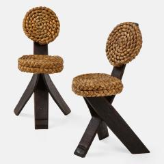Adrien Audoux Frida Minet Pair of Rope and Wood Chairs - 1995805