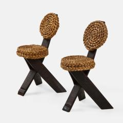 Adrien Audoux Frida Minet Pair of Rope and Wood Chairs - 1995806