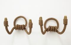 Adrien Audoux Frida Minet Pair of rope double arms sconces by Audoux Minet France 1960s - 998137