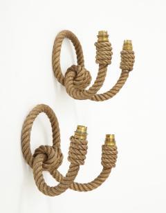 Adrien Audoux Frida Minet Pair of rope double arms sconces by Audoux Minet France 1960s - 998138