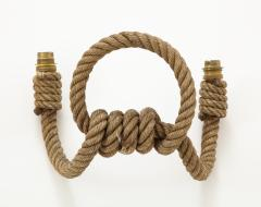 Adrien Audoux Frida Minet Pair of rope double arms sconces by Audoux Minet France 1960s - 998143