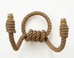 Adrien Audoux Frida Minet Pair of rope double arms sconces by Audoux Minet France 1960s - 998146