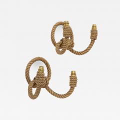 Adrien Audoux Frida Minet Pair of rope double arms sconces by Audoux Minet France 1960s - 998518