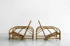 Adrien Audoux Frida Minet RARE AUDOUX MINET RATTAN LOUNGE CHAIRS - 1020028