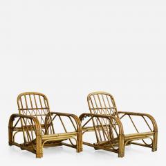 Adrien Audoux Frida Minet RARE AUDOUX MINET RATTAN LOUNGE CHAIRS - 1022379
