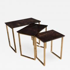 Aldo Tura Set Of Three Aldo Tura Parchment Rectangular Nesting Tables With  Polished Bronze   202679