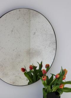 Alguacil Perkoff Ltd Orbis Antiqued Round Mirror with a Bronze Patina Frame - 1742787
