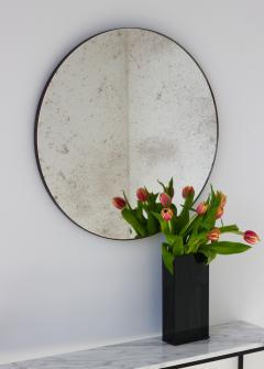 Alguacil Perkoff Ltd Orbis Antiqued Round Mirror with a Bronze Patina Frame - 1742789