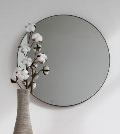 Alguacil Perkoff Ltd Orbis Round Elegant Mirror with a Bronze Patina Frame - 1794855