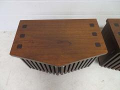 Altavista Lane Handsome Pair of American Modern Ribbed Walnut Nightstands Mid Century Modern - 1629235