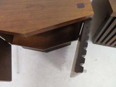 Altavista Lane Handsome Pair of American Modern Ribbed Walnut Nightstands Mid Century Modern - 1629239