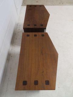 Altavista Lane Handsome Pair of American Modern Ribbed Walnut Nightstands Mid Century Modern - 1629242