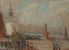 American Impressionist 20th century New York Harbor - 1307275