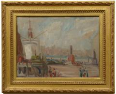 American Impressionist 20th century New York Harbor - 1307276