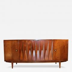 American of Martinsville Mid Century Danish Modern Walnut Diamond Front Credenza - 127436