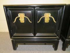 American of Martinsville Pair of Chinoiserie Style Asian Modern Lacquered Nightstands Mid Century - 1629530