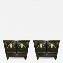 American of Martinsville Pair of Chinoiserie Style Asian Modern Lacquered Nightstands Mid Century - 1636264