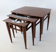 American of Martinsville Set of 3 American Modern Walnut Nesting Tables - 1034540