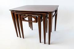 American of Martinsville Set of 3 American Modern Walnut Nesting Tables - 1034541