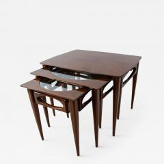 American of Martinsville Set of 3 American Modern Walnut Nesting Tables - 1155730