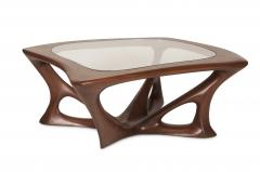 Amorph Ariella Coffee Table Solid Wood Walnut Stained with Glass Top - 1228156