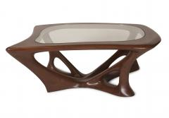 Amorph Ariella Coffee Table Solid Wood Walnut Stained with Glass Top - 1228159