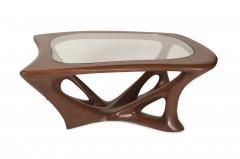 Amorph Ariella Coffee Table Solid Wood Walnut Stained with Glass Top - 1228160