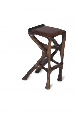 Amorph Modern Barstool Solid Wood with Leather and Stained Rusted Walnut - 588914